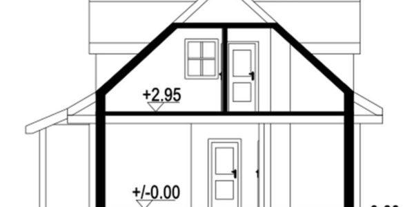 Plan vertical casa din lemn cu 3 dormitoare