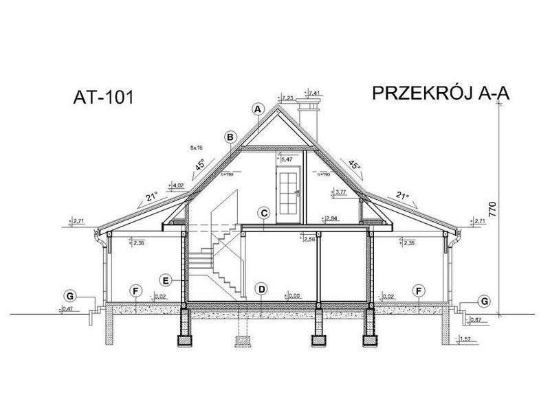 Plan vertical casa din lemn cu 5 camere