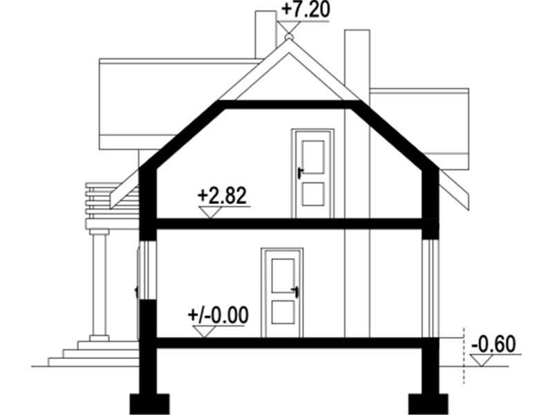 Plan vertical casa mica cu mansarda