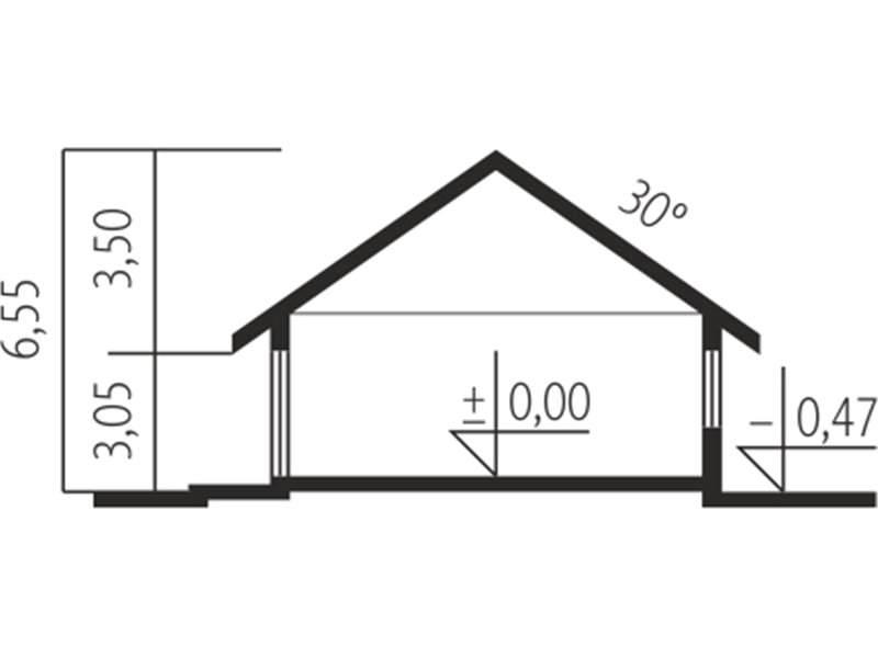 Plan vertical casa parter cu garaj