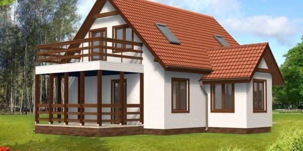 Proiect casa cu balcon mare la mansarda