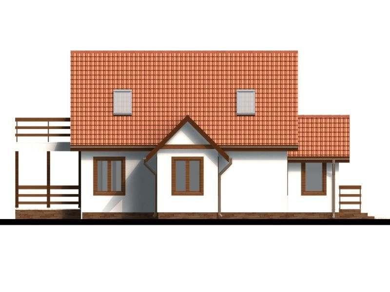 Vedere dreapta casa P+M cu terasa acoperita