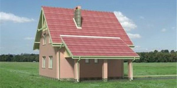 Vedere dreapta casa cu P+M cu 4 camere