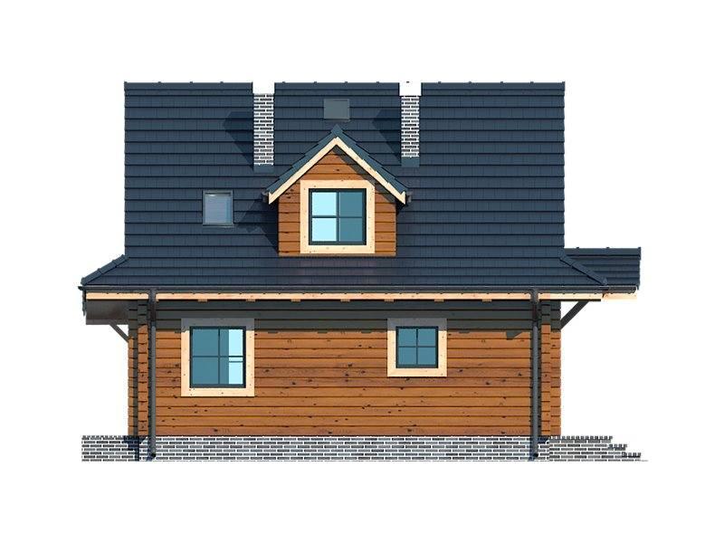 Vedere dreapta casa din lemn cu 3 dormitoare