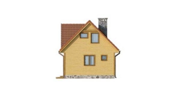 Vedere dreapta casa din lemn cu 5 camere