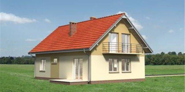 Vedere dreapta casa mica cu mansarda si garaj