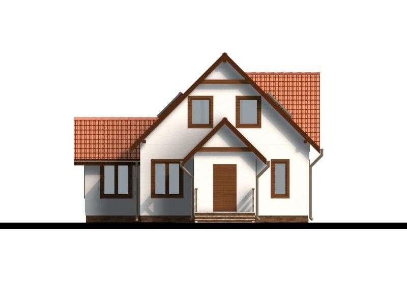 Vedere fata casa P+M cu terasa acoperita