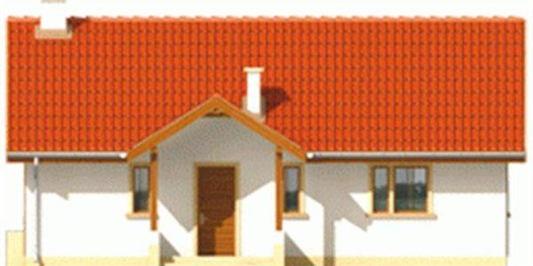 Vedere fata casa cu 2 dormitoare si living