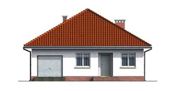 Vedere fata casa cu 3 camere si garaj