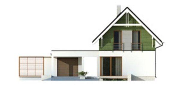 Vedere fata casa cu 3 dormitoare si garaj