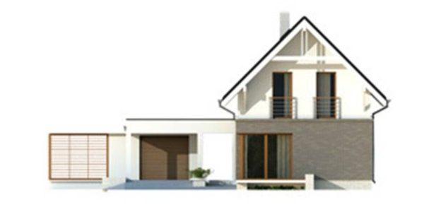 Vedere fata casa cu 4 camere si garaj