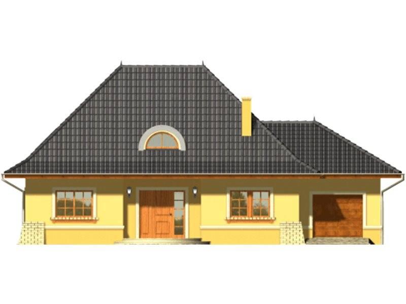 Vedere fata casa cu mansarda si garaj