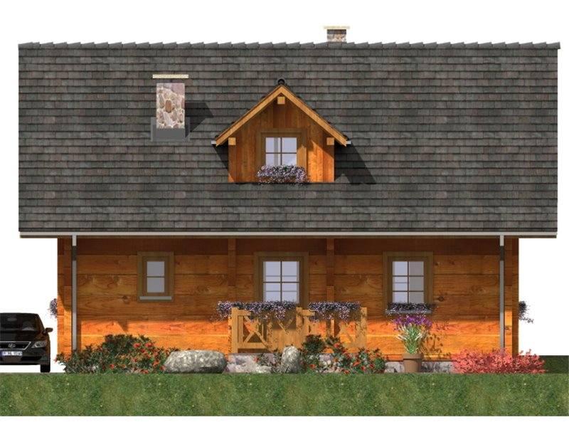 Vedere fata casa de vacanta din lemn