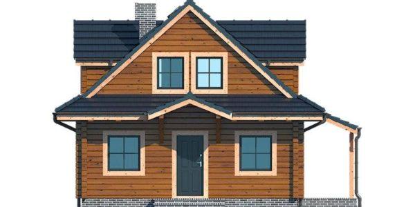 Vedere fata casa din lemn cu 3 dormitoare