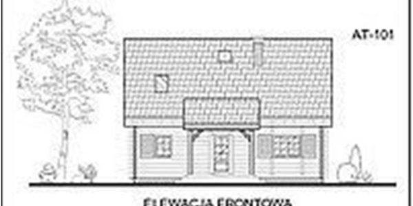 Vedere fata casa din lemn cu 5 camere