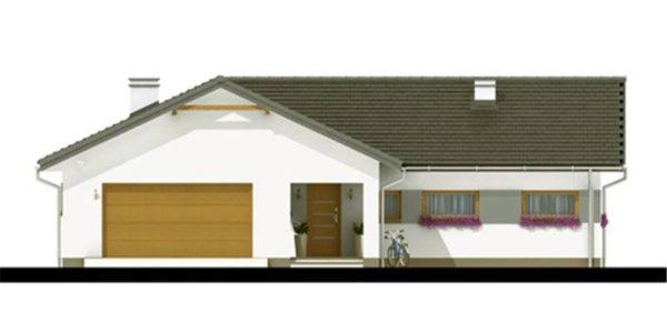 Vedere fata casa mica cu garaj
