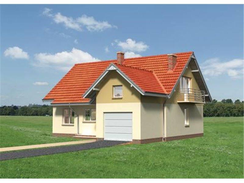 Vedere fata casa mica cu mansarda si garaj