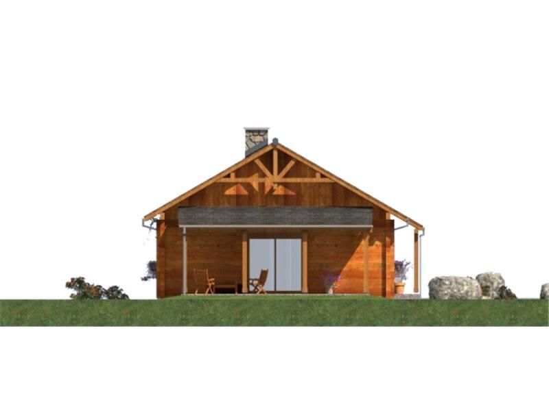 Vedere laterala casa din lemn
