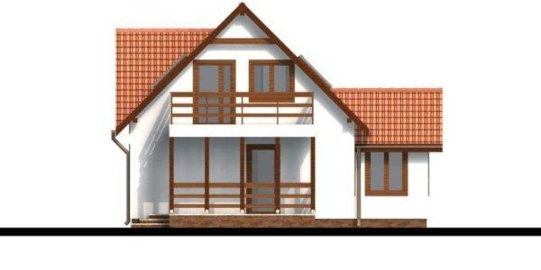 Vedere spate casa P+M cu terasa acoperita