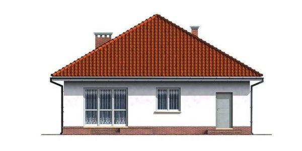 Vedere spate casa cu 3 camere si garaj