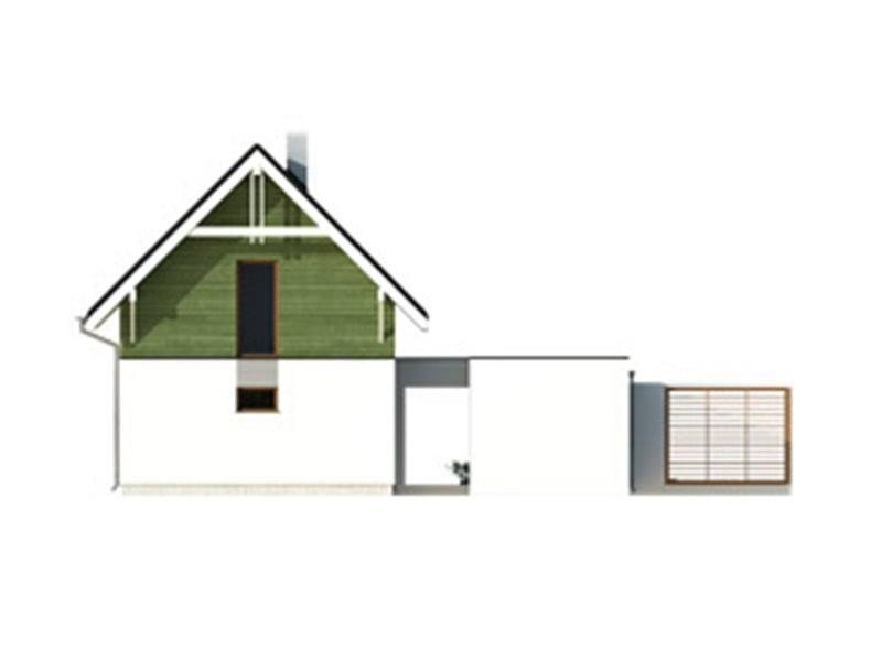 Vedere spate casa cu 3 dormitoare si garaj