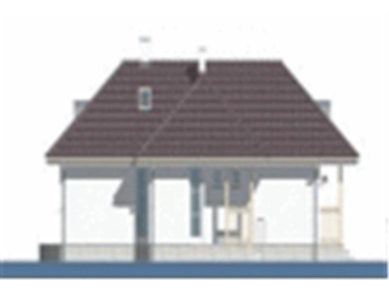 Vedere spate casa cu 4 camere si veranda