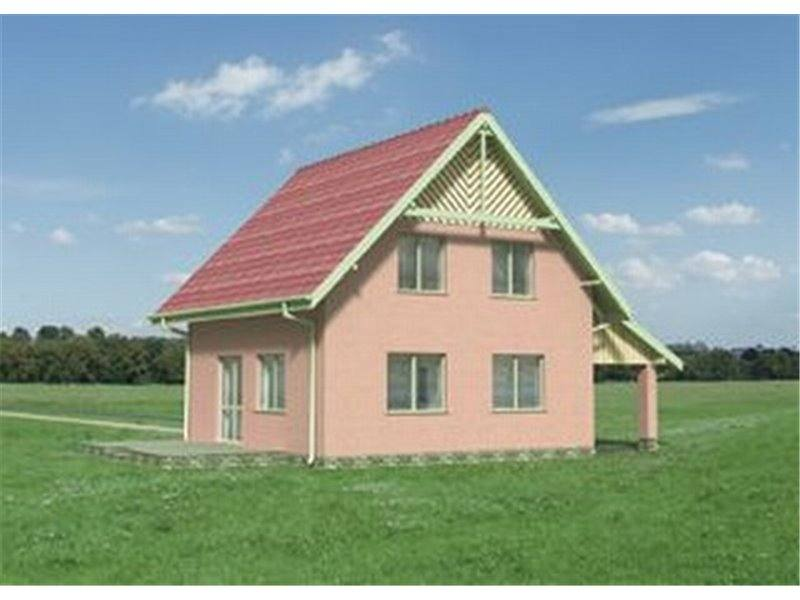Vedere spate casa cu P+M cu 4 camere