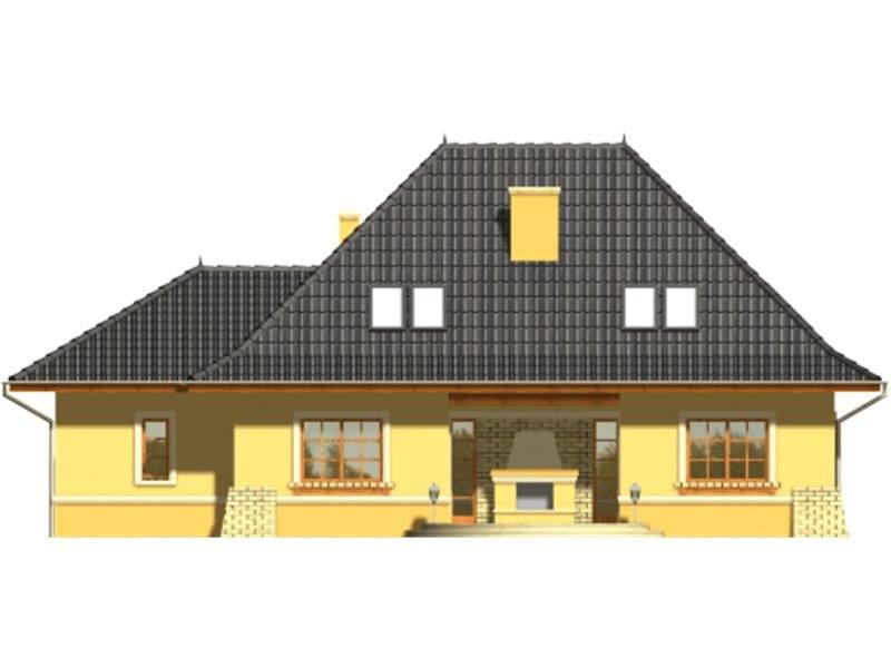 Vedere spate casa cu mansarda si garaj