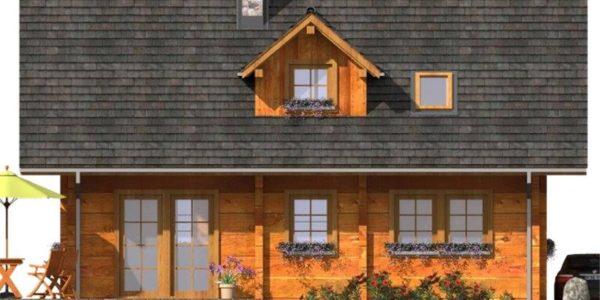 Vedere spate casa de vacanta din lemn