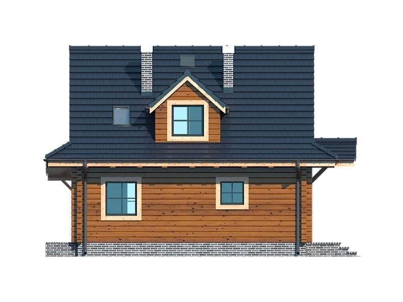 Vedere spate casa din lemn cu 3 dormitoare
