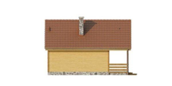 Vedere spate casa din lemn cu 5 camere