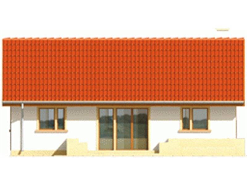 Vedere spate casa mica cu 3 camere