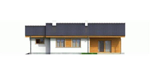 Vedere spate casa mica cu 4 camere si garaj