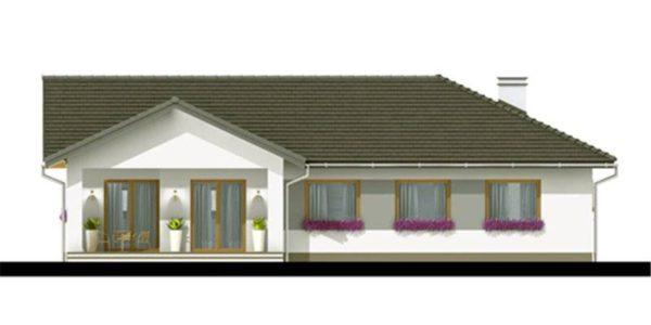 Vedere spate casa mica cu garaj