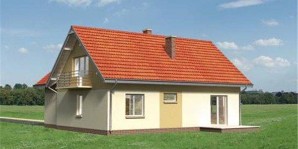 Vedere spate casa mica cu mansarda si garaj