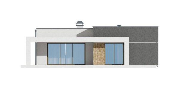 Vedere spate casa moderna cu 3 camere