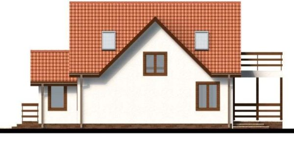 Vedere stanga casa P+M cu terasa acoperita