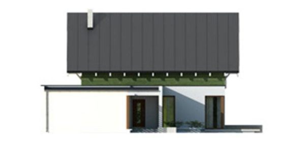 Vedere stanga casa cu 3 dormitoare si garaj
