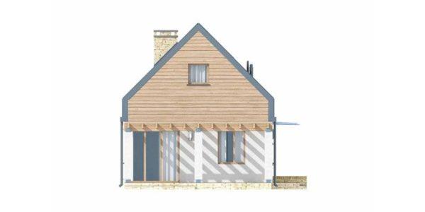 Vedere stanga casa cu acoperis inalt
