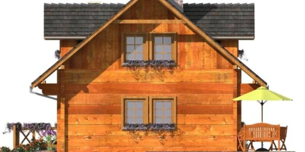 Vedere stanga casa de vacanta din lemn