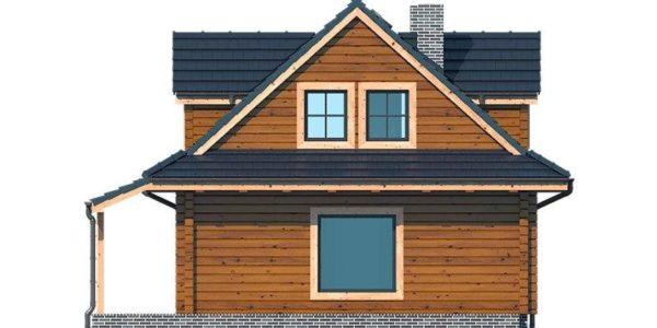 Vedere stanga casa din lemn cu 3 dormitoare