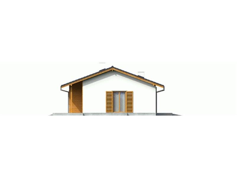 Vedere stanga casa mica cu 4 camere si garaj