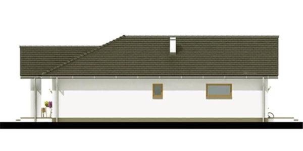 Vedere stanga casa mica cu garaj