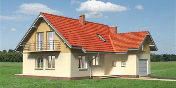 Vedere stanga casa mica cu mansarda si garaj